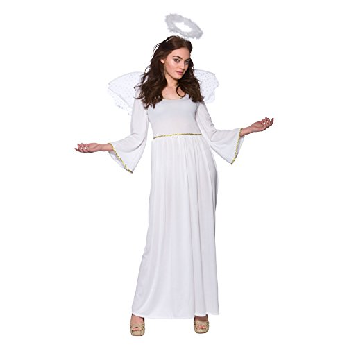 Kostüm Dress Fancy Angel - LADIES WHITE NATIVITY ANGEL CHRISTMAS FANCY DRESS COSTUME