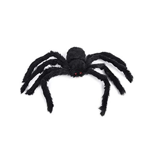 jeeri Spinnen-Dekorationen Schwarz mit furchterregenden roten Augen Groß Scary Prop Halloween-Dekorationen Haarige bewegliche Spinne für Party-Dekor Hof Spukhaus (Halloween-dekor Spinnen)