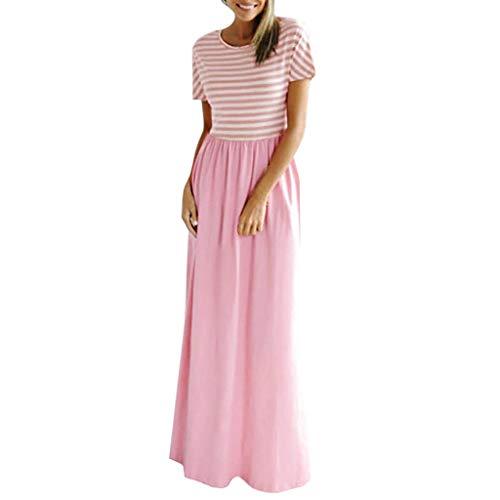 B-commerce Frauen Boden Lange Kleider - 2019 Casual Maxi Oansatz Elastischer Bund Kurzarm Tunika-Kleid mit Taschen Streifen Patchwork Einfach Reich O-Ausschnitt Lose Kleider