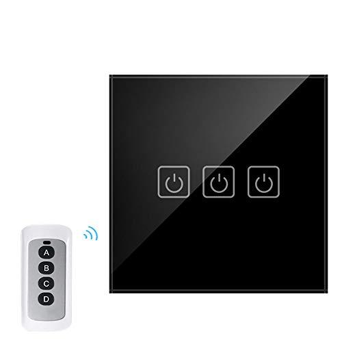 WiFi Intelligenter Dimmerschalter Schwarz, drahtlose Fernbedienung, 3-Fach 1-Wege-Schalter, EU/UK-Standard, RF433 Remote Wall Touch-Schalter, Schwarz -
