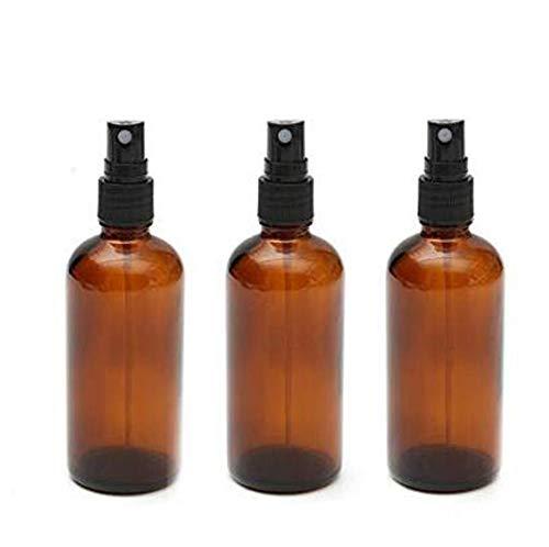 3 x 100 ml leere nachfüllbare bernsteinfarbene Glas-Sprühflaschen mit feinem Sprühnebel, tragbare Kosmetik-Zerstäuberflasche, Make-up, Hautpflege-Werkzeug für Parfüm, Make-up, Wasser, Reiseflüssigkeit