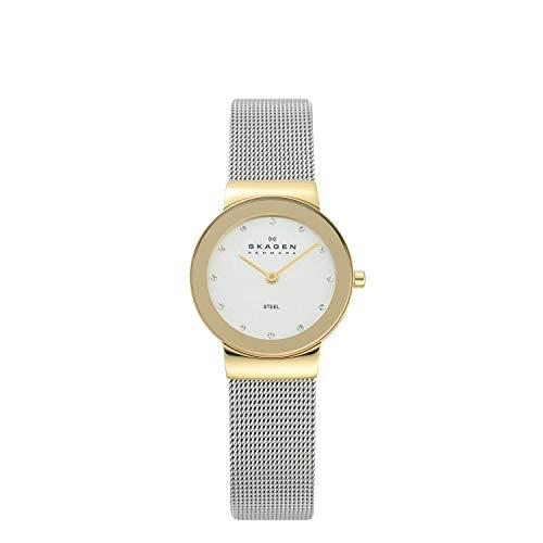 Skagen slimline bicolor 358sgscd- orologio da donna, colore argento