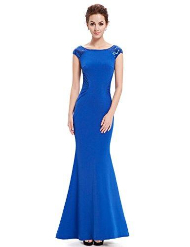 Ever Pretty Robe Longue moulante Fishtail et en col rond 08515 Bleu Saphir