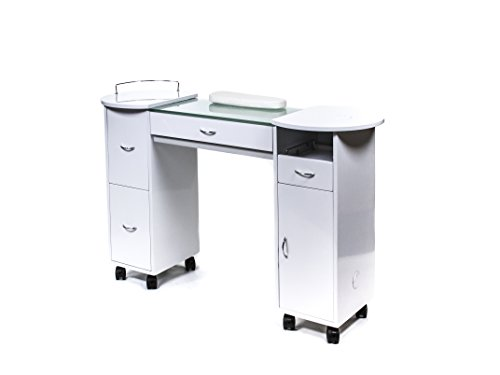 GLASS TOP MANICURE TABLE SALON NAIL STATION