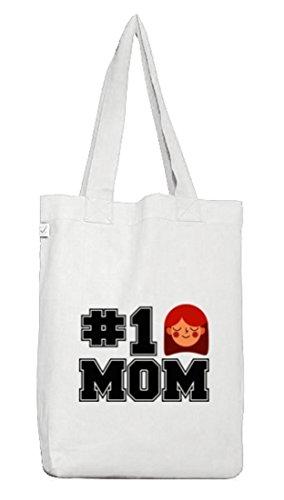 Geschenkidee Jutebeutel Stoffbeutel Earth Positive mit Number 1 Mom Motiv White
