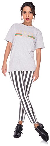 Loomiloo Oversize Shirt Logoprint Damen T-Shirt Top Oberteil Tshirt Oversized Guilty Mercy Guilty Grau