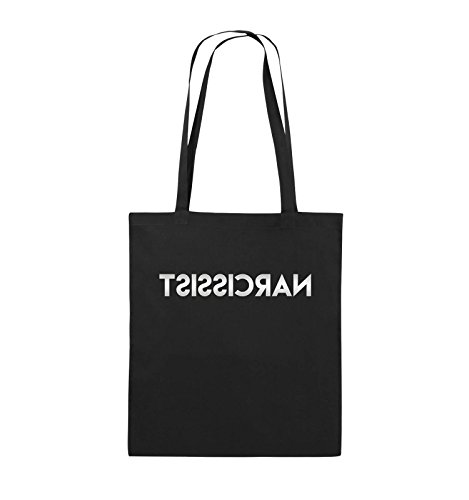 Comedy Bags - NARCISSIST - GESPIEGELT - Jutebeutel - lange Henkel - 38x42cm - Farbe: Schwarz / Pink Schwarz / Silber