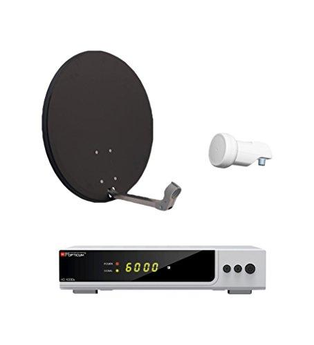 Opticum HD AX 300 Digitale 1 Teilnehmer Satelliten-Komplettanlage mit HDTV-Receiver (Single-LNB, 60 cm Antenne) anthrazit/silber (TÜV zertifiziert)