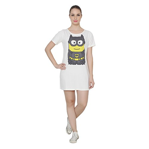 Ecru Boat Neck T-shirt Dress with Minion Batman Print on Front  available at amazon for Rs.545