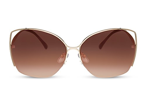 Cheapass Damen Sonnenbrille Braun Gold Groß Oversized Cat-Eye Metallrahmen