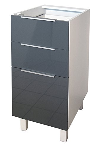 Berlenus CT4BG Kitchen Base Unit 3 Door 40 cm High-Gloss