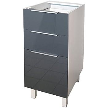 Berlenus CT4BG Küchenunterschrank, 3 Türen, hochglanz, 40 cm, Grau ...