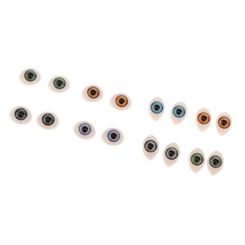 T TOOYFUL 8 Paar Kunststoff Oval Flache Rückseite Augen 5mm 6mm Iris Für Maske Bär Puppen DIY
