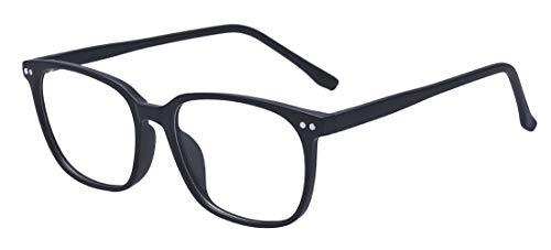 ALWAYSUV Retro Nerd Brille Klar Linse Brillenfassung Unisex Brillengestelle in Schwarz und Leopard