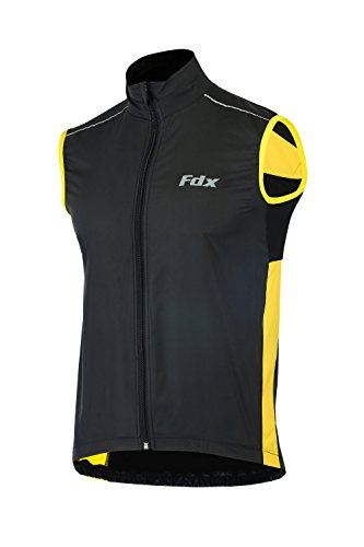 FDX, gilet da ciclismo da uomo, impermeabile, antivento, pieghevole, traspirante Black/yellow Medium