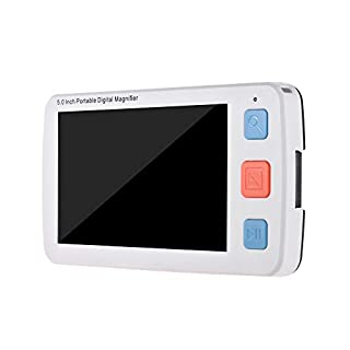 Aibecy 5.0 Inch Portable Digital Video Magnifier HD Colorful LCD Display Screen Low Vision Reading Aid with 17 Color Modes Support Output to TV with 4X/8X/16X/24X/32X Zoom Up for Seniors