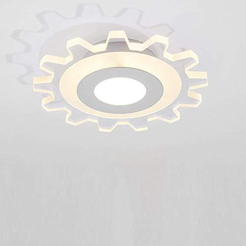 W-LI Deckenleuchte Modernes Zahnrad Form Design Unterputz Deckenbeleuchtung für Küche Flur Foyer Gang Eisen und Acryl Lampe 12W Warmes Licht Durchmesser 20 cm -