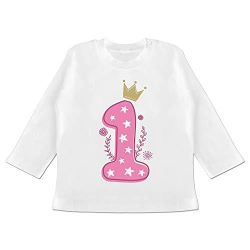 Geburtstag Baby - 1. Geburtstag Mädchen Krone Sterne - 12-18 Monate - Weiß - BZ11 - Baby T-Shirt Langarm (Langarm 1 T-shirt Mädchen)