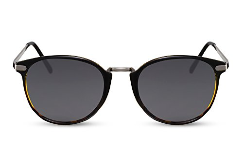 Cheapass Sonnenbrille Rund-e Schwarz Grau UV-400 Vintage Designer-Brille Metall Frauen Männer