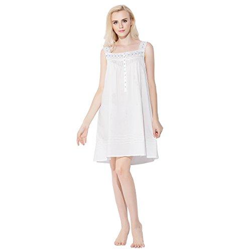 Dorekim Damen Baumwolle kurz Negligee Kleid ärmellos Nachthemd Schlafanzüge Weiß DK3001 (S/M) (Chiffon Nachthemd Vintage)