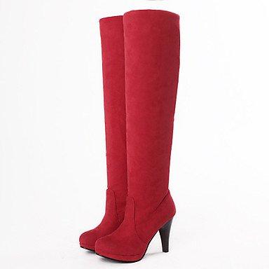 Da donna Scarpe Finta pelle Autunno Inverno Comoda Stivali Stivaletti Footing A cono Punta tonda Fibbia Per Casual Formale Nero Grigio red