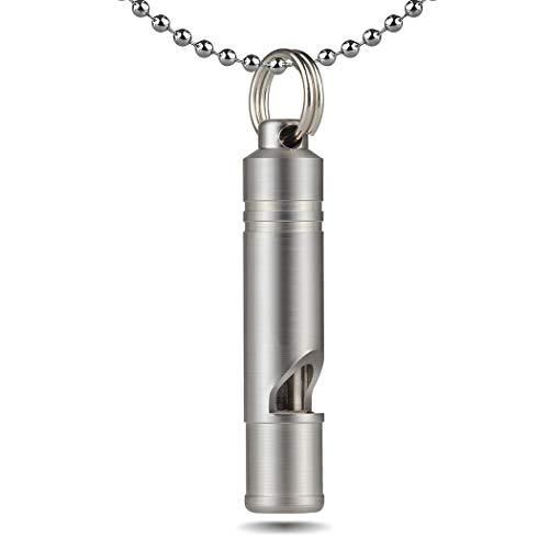 Titan Whistle mit Halskette Signalpfeife Schlüsselbund Notfallpfeife Halsketten Pfiefe für Notfallüberlebenspeife, Laut, tragbar,Schlüsselanhänger,Lebensretter, Wandern, Camping Haustiertraining