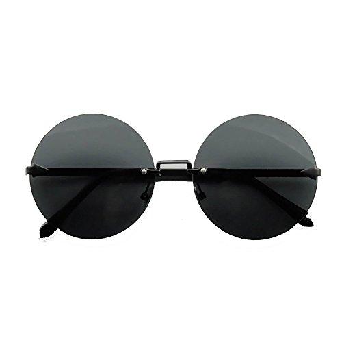 MX Sonnenbrille - Ultra Erwachsene Retro Runde Sonnenbrille Gering Stil John Lennon Sonnenbrille Vintage Look Qualität UV400 Elton John Lennon Brille Männer Frauen Größe -14.6x14.5cm # (Farbe : A)