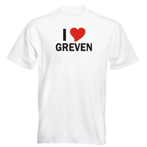 T-Shirt mit Städtenamen - i Love Greven - Herren - unisex Weiß