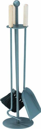 Set camino 3 pezzi con maniglie in legno - rivestito in antracite - composto da paletta, scopino e attizatoio - Stufa A Legna Tool Set