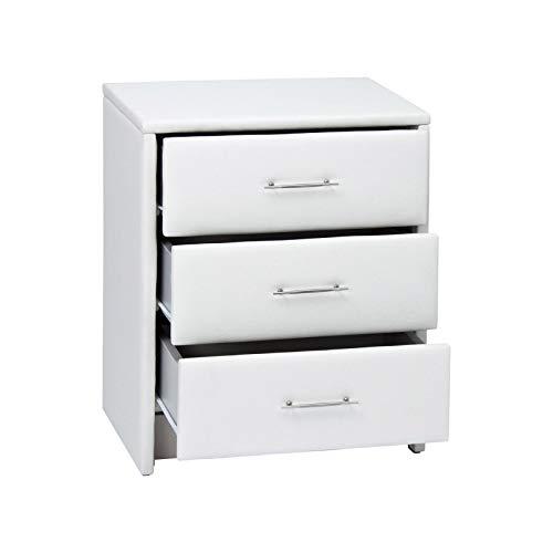 Peters-Living Nachttisch Nachtkonsole Weiß mit 3 Schubladen Kommode Leder-Look Nachtschrank 50x43x62cm