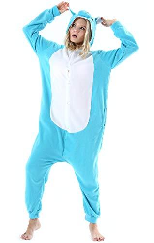 Damen Jumpsuit Onesie Tier Fasching Halloween Kostüm Lounge Sleepsuit Herren Cosplay Overall Pyjama Schlafanzug Erwachsene Unisex Blau Nashorn for Höhe 140-187CM (Für Erwachsene Nashorn Kostüm)