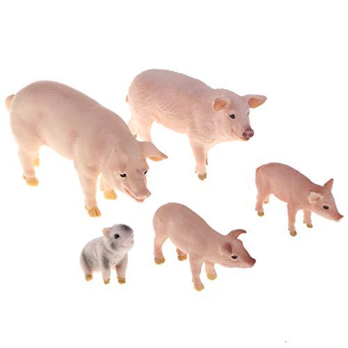 Homyl Mini Schwein Schleich Glücksschwein Glücksbringer Schwein, aus Kunststoff - Rosa (Miniatur-kunststoff-schwein)