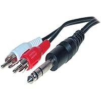 Audio Kabel 3-Stangen 6,3mm Klinkenstecker auf 2Cinchstecker 1,5m