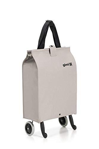 Gimi Brava Plus- Carro de la compra, con 2 ruedas, bolsa impermeable de poliéster, carro plegable, capacidad de 38 litros, beige, 45 x 30 x 7 cm