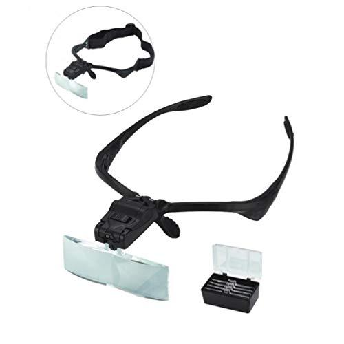 TOSSPER 5 Neue Ankunfts-Objektiv 1.0X ~ 3.5X bewegliche Stirnband LED-Augen-Glas-Schutzbrillen Loupe Visier Lupe Scheinwerfer-LED-Scheinwerfer