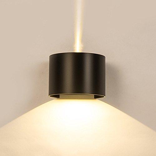Oudan LED Applique Extérieure Chevet Imperméable Chambre Salon Salon Allée Extérieure Balcon Escalier Cour, Noir-Chaud Lumière Blanche 18W