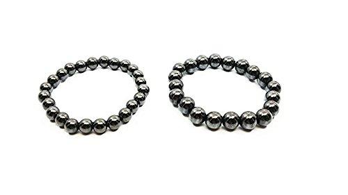 8MM und 10mm Rund Perlen (2Pcs) von Hämatit Leistungsstark Magnet Armband für Arthritis lindert Schmerzen oder für Sport Verwandte Therapie oder für antidepression