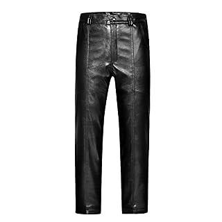 ACMEDE Men's Cycling Trousers Fur lined Fleece Thermal Winter Warm Windproof PU Leather Pants Black