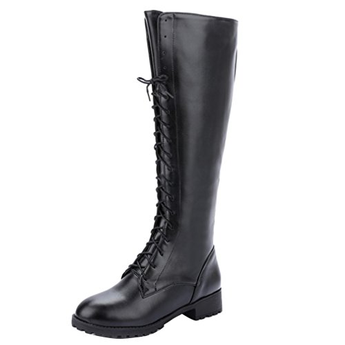 YE Damen Chunky heel Plateau Langschaft Stiefel Kniehoch mit Blockabsatz Schnürsenkel Schuhe