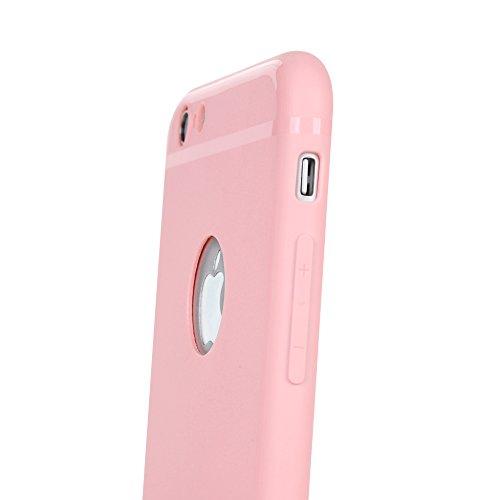 """Lanveni Coque iPhone 6 4.7"""" Case de Protection en TPU Souple pour iPhone 6 4.7"""" Ultra-fine Logo Exposer Rose + Stylo + Bouchon Anti-poussière Rose"""