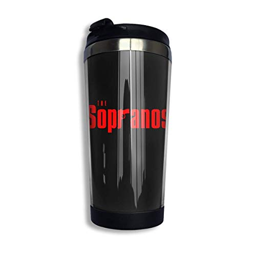 Trushop Taza de café The Sopranos Logo Coffee Cups Stainless Steel Water Bottle Cup Travel Mug Coffee Tumbler with Spill Proof Lid Graphic Travel Mug 400ml/14 oz