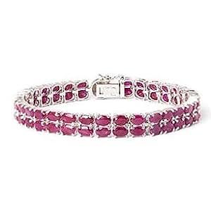 TJC Burmese Ruby (Ovl), Diamond Bracelet in Sterling Silver (Size 7.5) 19.900 Ct.