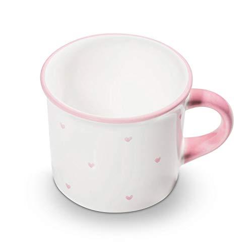 GMUNDNER KERAMIK Kaffeehäferl glatt Füllmenge : 0.24 Liter Herzerl Rosa Geschirr, handgemacht in Österreich