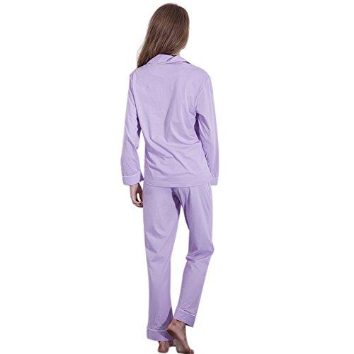 FeelinGirl Pyjama Long Femme Coton Doux et Confortable Noir Bleu Nuit XS-L Lilas