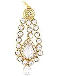 I Jewels Traditional Gold Plated Jhoomar Passa Tikka for Women T1071W (White)