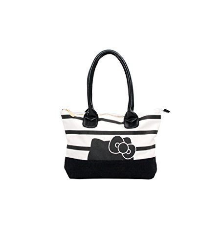 Hello Kitty - Hand Bag in Tela Bianco/Nero