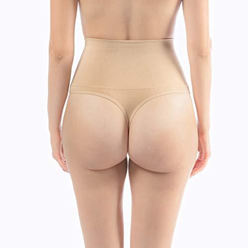 Libella 2er Pack Damen Hohe Taille Miederslip Shapewear Bauch Kontrolle String Tanga Figurformende Miederhose Unterwäsche 3612 Beige L/XL - 4