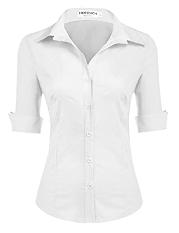 HOTOUCH Ladies Classic Wrinkle Free Long Sleeve Oxford (White