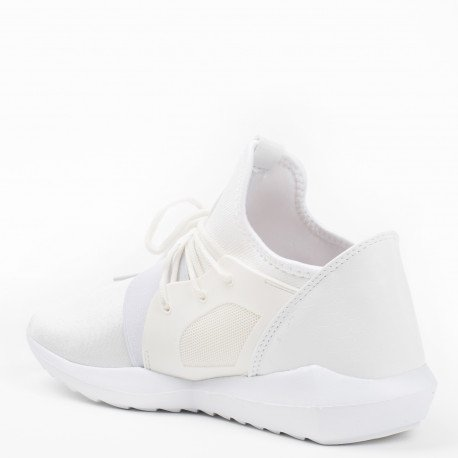 Ideal Shoes - Baskets style running bi-matière Anella Blanc