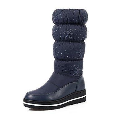 RTRY Scarpe Donna Pu Autunno Inverno Comfort Novità Moda Stivali Stivali Tacco Piatto Rotondo Mid-Calf Toe Stivali Per Office &Amp; Carriera Vestito Nero Blu US7.5 / EU38 / UK5.5 / CN38